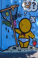 Europe/France/Normandie/76/Seine Maritime/  Le Havre : Quartier Saint François - Street Art représentant une scène de Plage    // Europe / France / Normandy / 76 / Seine Maritime / Le Havre: Quartier Saint François - Street Art representing a Beach scene