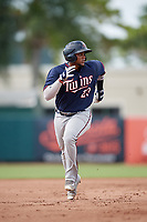 GCL Twins first baseman Yeison Perez (23) runs the bases during the first game of a doubleheader against the GCL Orioles on August 1, 2018 at CenturyLink Sports Complex Fields in Fort Myers, Florida.  GCL Twins defeated GCL Orioles 7-6 in the completion of a suspended game originally started on July 31st, 2018.  (Mike Janes/Four Seam Images)