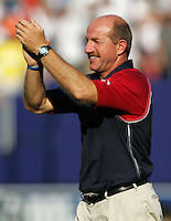 July 24, 2005: East Rutherford, NJ, USA:  USMNT assistant coach Glenn Myernick congratulates his team after winning the CONCACAF Gold Cup at Giants Stadium.  The USMNT won 3-1 on penalty kicks.