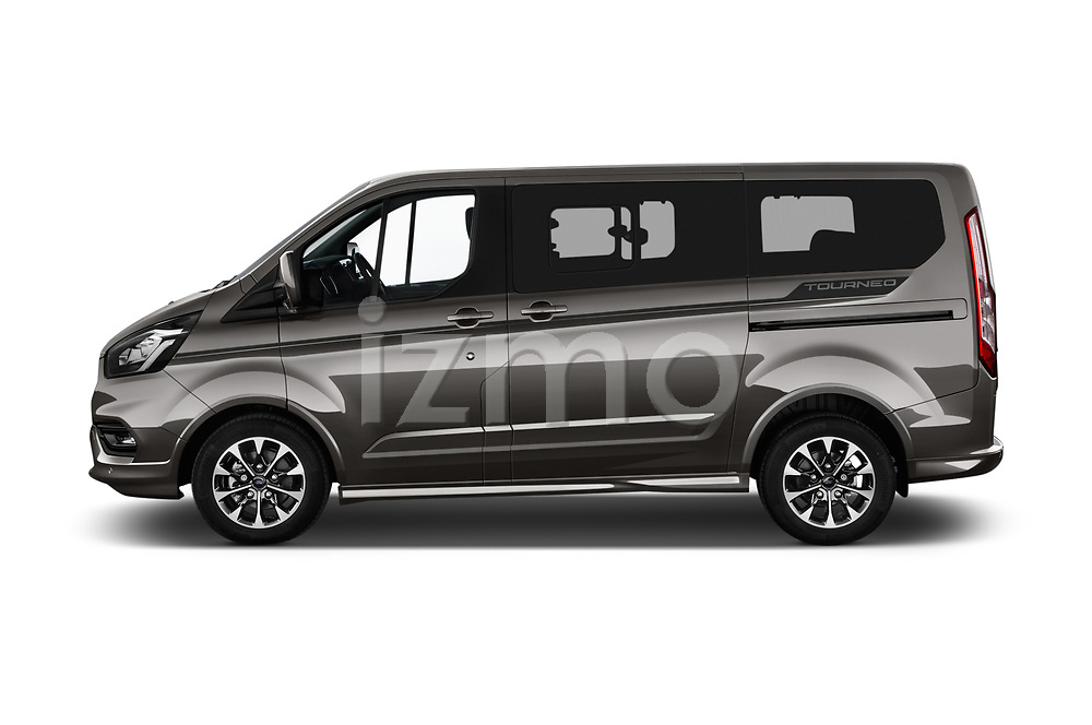 Car driver side profile view of a 2018 Ford Tourneo Custom Sport 5 Door Passenger Van