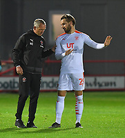 Blackpool's Manager Neil Critchley offers advice to Luke Garbutt<br /> <br /> Photographer Dave Howarth/CameraSport<br /> <br /> EFL Trophy Northern Section Group G - Accrington Stanley v Blackpool - Tuesday 6th October 2020 - Crown Ground - Accrington<br />  <br /> World Copyright © 2020 CameraSport. All rights reserved. 43 Linden Ave. Countesthorpe. Leicester. England. LE8 5PG - Tel: +44 (0) 116 277 4147 - admin@camerasport.com - www.camerasport.com