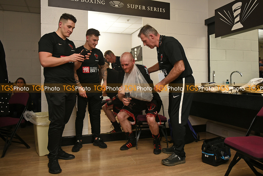 George Groves and his team in the dressing room after defeating Chris Eubank Jr during a Boxing Show at the Manchester Arena on 17th February 2018