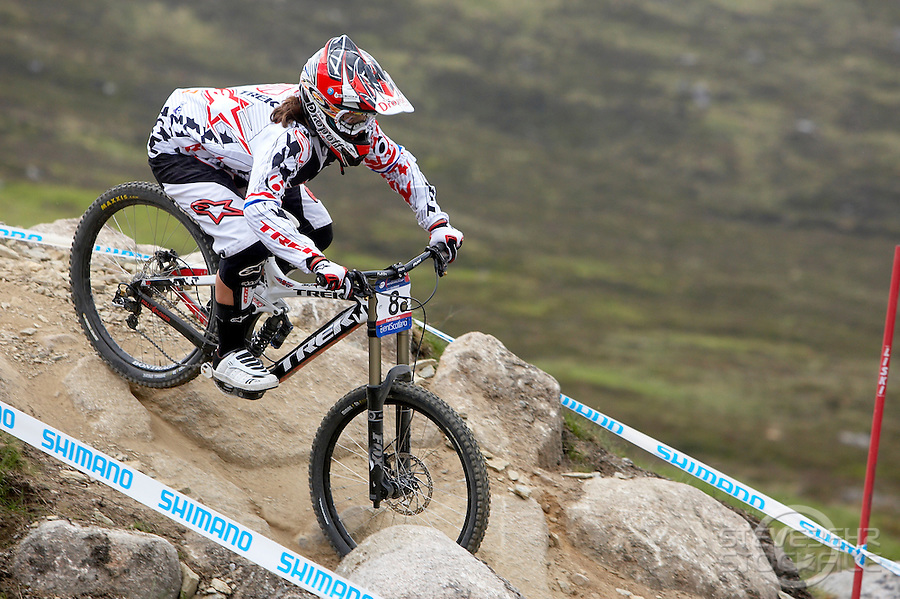 Tracy Moseley Trek ..Fort William World Cup Downhill Mountain bike event June 2010..pic copyright Steve Behr / Stockfile