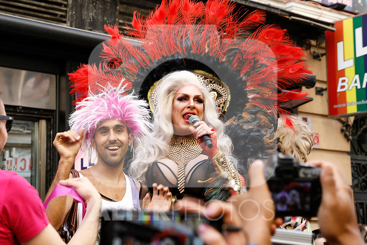Winner of the heels race of the lgtb pride party of Madrid and drag queen Chumina Power. July 4, 2019. (ALTERPHOTOS/JOHANA HERNANDEZ)