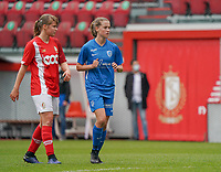 Standard's Aster Janssens (5) (L) and Genk's Jorien Voets (20) (R)pictured during a female soccer game between Standard Femina de Liege and KRC Genk Ladies  on the third matchday of the 2020 - 2021 season of Belgian Womens Super League , Saturday 3 rd of October 2020  in Liege , Belgium . PHOTO SPORTPIX.BE   SPP   SEVIL OKTEM