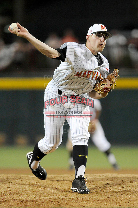 Starting pitcher Mike Shawaryn (18) of the Maryland Terrapins throws a pitch in an NCAA Division I Baseball Regional Tournament game against the South Carolina Gamecocks on Saturday, May 31, 2014, at Carolina Stadium in Columbia, South Carolina. Maryland won, 4-3. (Tom Priddy/Four Seam Images)