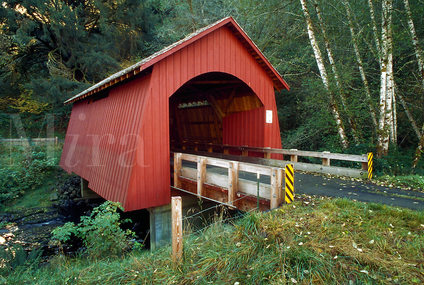 Rustic covered bridge over Yachats River, Oregon