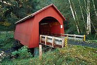 Rustic covered bridge over Yachats River, Oregon