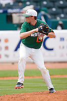 Sam Robinson #13 of the Miami Hurricanes in action against the Boston College Eagles at the 2010 ACC Baseball Tournament at NewBridge Bank Park May 27, 2010, in Greensboro, North Carolina.  The Eagles defeated the Hurricanes 12-10 in 10 innings.  Photo by Brian Westerholt / Four Seam Images