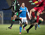 St Johnstone v Hibs…16.03.18…  McDiarmid Park    SPFL<br />Ofir Marciano blocks Chris Kane's shot outside the box<br />Picture by Graeme Hart. <br />Copyright Perthshire Picture Agency<br />Tel: 01738 623350  Mobile: 07990 594431