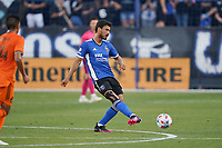 SAN JOSE, CA - JULY 24: Oswaldo Alanis #4 of the San Jose Earthquakes during a game between Houston Dynamo and San Jose Earthquakes at PayPal Park on July 24, 2021 in San Jose, California.