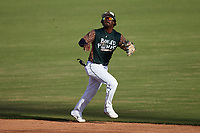 Charleston Boiled Peanuts shortstop Abiezel Ramirez (2) tracks a pop fly during the game against the Augusta GreenJackets at Joseph P. Riley, Jr. Park on June 26, 2021 in Charleston, South Carolina. (Brian Westerholt/Four Seam Images)