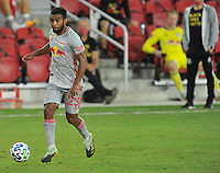 WASHINGTON, DC - SEPTEMBER 12: Cristian Casseres Jr. #23 of New York Red Bulls moves the ball during a game between New York Red Bulls and D.C. United at Audi Field on September 12, 2020 in Washington, DC.