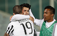 Calcio, Serie A: Fiorentina vs Juventus. Firenze, stadio Artemio Franchi, 24 aprile 2016.<br /> Juventus' Alvaro Morata, center, celebrates with teammates Leonardo Bonucci, left, and Alex Sandro, after scoring the winning goal during the Italian Serie A football match between Fiorentina and Juventus at Florence's Artemio Franchi stadium, 24 April 2016. <br /> UPDATE IMAGES PRESS/Isabella Bonotto