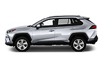 Car driver side profile view of a 2019 Toyota RAV4 Limited 5 Door SUV