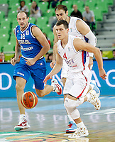 "Nemanja Nedovic of Serbia in action during European basketball championship ""Eurobasket 2013""  basketball game for 7th place between Serbia and Italy in Stozice Arena in Ljubljana, Slovenia, on September 21. 2013. (credit: Pedja Milosavljevic  / thepedja@gmail.com / +381641260959)"