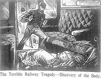 BNPS.co.uk (01202) 558833.<br /> Pic: JanBondeson/HistoryPress/BNPS<br /> <br /> Pictured: A train conductor discovers the body of Elizabeth Camp in a carriage.<br /> <br /> A historian believes he has solved the gruesome 124 year old murder of a barmaid on a London train.<br /> <br /> Elizabeth Camp was travelling to Waterloo station when she was murdered on February 11, 1897.<br /> <br /> The 33 year old's battered body was found by a carriage cleaner with her head wedged underneath a seat and her legs outstretched on the floor.<br /> <br /> Over a century later, historian Dr Jan Bondeson has pored over the evidence in the case, including police files, to try and identify her killer.<br /> <br /> He believes the person responsible for her brutal death was 25 year old Arthur Marshall, the son of a Reading publican, and has outlined his theory in his new book, Rivals of the Ripper.