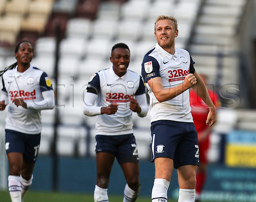 31st October 2020; Deepdale Stadium, Preston, Lancashire, England; English Football League Championship Football, Preston North End versus Birmingham City; Jayden Stockley of Preston North End celebrates after scoring in the 24th minute to level the score at 1-1