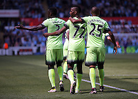 ( L-R ) Bacary Sagna, Kelechi Iheanacho and Fernandinho of Manchester City look to the linesman after Iheanacho's goal as there was a confusion whether the goal stood or not during the Swansea City FC v Manchester City Premier League game at the Liberty Stadium, Swansea, Wales, UK, Sunday 15 May 2016