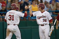 South Carolina's Brady Thomas celebrates in Game 10 of the NCAA Division One Men's College World Series on June 24th, 2010 at Johnny Rosenblatt Stadium in Omaha, Nebraska.  (Photo by Andrew Woolley / Four Seam Images)