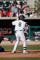 Garrett Hiott (8) of the Charleston RiverDogs at bat against the Augusta GreenJackets at Joseph P. Riley, Jr. Park on June 27, 2021 in Charleston, South Carolina. (Brian Westerholt/Four Seam Images)