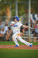 South Dakota State Jackrabbits right fielder Colton Cox (12) bats during a game against the Northeastern Huskies on February 23, 2019 at North Charlotte Regional Park in Port Charlotte, Florida.  Northeastern defeated South Dakota State 12-9.  (Mike Janes/Four Seam Images)