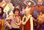 Guy Buffet and Lieutenant Governor, Jean King, at the unveiling of Guy's landmark mural on the outdoor walls of the Waimanalo Library on Oahu. 1978