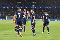 28th September 2021, Parc des Princes, Paris, France: Champions league football, Paris-Saint-Germain versus Manchester City:  Kylian Mbappe ( 7 - PSG ) and Lionel Leo Messi ( 30 - PSG ) celebrate their goal