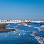 A winter morning at Wells Beach in Wells, ME, USA