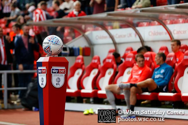 The match ball on the obligatory pre match podium. Sunderland 2 Portsmouth 1, 17/08/2019. Stadium of Light, League One. Photo by Paul Thompson.