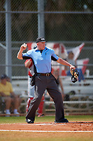 Home plate umpire Phil Pupillo during a game between the Mount St. Mary's Mountaineers and the Ball State Cardinals on March 9, 2019 at North Charlotte Regional Park in Port Charlotte, Florida.  Ball State defeated Mount St. Mary's 12-9.  (Mike Janes/Four Seam Images)