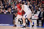 Real Madrid's Jonas Maciulis and EA7 Emporio Armani Milan's Rakim Sanders during Turkish Airlines Euroleage match between Real Madrid and EA7 Emporio Armani Milan at Wizink Center in Madrid, Spain. January 27, 2017. (ALTERPHOTOS/BorjaB.Hojas)