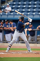 Montgomery Biscuits designated hitter Brendan McKay (38) at bat during Southern League game against the Biloxi Shuckers on May 8, 2019 at MGM Park in Biloxi, Mississippi.  Biloxi defeated Montgomery 4-2.  (Mike Janes/Four Seam Images)