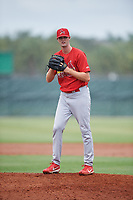 GCL Cardinals relief pitcher Jim Voyles (31) gets ready to deliver a pitch during a game against the GCL Mets on July 23, 2017 at Roger Dean Stadium Complex in Jupiter, Florida.  GCL Cardinals defeated the GCL Mets 5-3.  (Mike Janes/Four Seam Images)