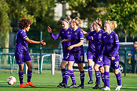 Anderlecht players celebrate their team's goal during a female soccer game between the women teams of Zulte Waregem B Dames and RSC Anderlecht Ladies on the 1/16 th qualifying round for the Belgian Womens Cup 2020  2021 , on saturday 26 th of September 2020  in Zulte , Belgium . PHOTO SPORTPIX.BE | SPP | SEVIL OKTEM
