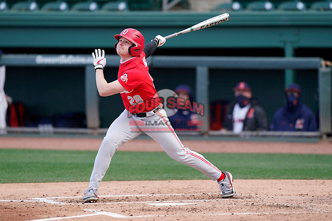 Left fielder Marcus Ernst (28) of the Ohio State Buckeyes bats in a game against the Illinois Fighting Illini on Friday, March 5, 2021, at Fluor Field at the West End in Greenville, South Carolina. (Tom Priddy/Four Seam Images)