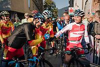 Alejandro Valverde (ESP/Movistar team) getting a fist-bump from Vasil Kiryienka (BLR/SKY) before the race start<br /> <br /> MEN ELITE ROAD RACE<br /> Kufstein to Innsbruck: 258.5 km<br /> <br /> UCI 2018 Road World Championships<br /> Innsbruck - Tirol / Austria