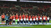 London, England - Thursday November 15, 2018: The men's national teams of the United States (USA) and England (ENG) play in an international friendly game at Wembley Stadium.