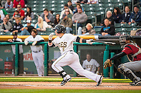 Daniel Robertson (5) of the Salt Lake Bees during the game against the Sacramento River Cats in Pacific Coast League action at Smith's Ballpark on April 17, 2015 in Salt Lake City, Utah.  (Stephen Smith/Four Seam Images)