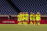 TOKYO, JAPAN - JULY 24: Nathalie Bjorn #14 celebrates with Hanna Bennison #5 of Sweden during a game between Australia and Sweden at Saitama Stadium on July 24, 2021 in Tokyo, Japan.