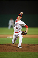 Auburn Doubledays relief pitcher Tanner Driskill (29) delivers a pitch during a game against the Lowell Spinners on July 13, 2018 at Falcon Park in Auburn, New York.  Lowell defeated Auburn 8-5.  (Mike Janes/Four Seam Images)