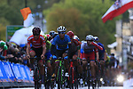 The peloton climbs Parliment Street on the Harrogate circuit during the Men U23 Road Race of the UCI World Championships 2019 running 186.9km from Doncaster to Harrogate, England. 27th September 2019.<br /> Picture: Eoin Clarke | Cyclefile<br /> <br /> All photos usage must carry mandatory copyright credit (© Cyclefile | Eoin Clarke)