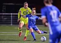 Lobke Loonen (19) of AA Gent and Gwyneth Vanaenrode (18) of KRC Genk pictured during a female soccer game between  Racing Genk Ladies and AA Gent Ladies ,  on the 6 th  matchday of the 2021-2022 season of the Belgian Scooore Womens Super League , friday 8 october 2021  in Genk , Belgium . PHOTO SPORTPIX | JILL DELSAUX