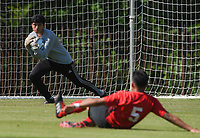NWA Democrat-Gazette/CHARLIE KAIJO Russellville High School goalkeeper Jorge Mendoza (0) blocks during the Class 5A State Soccer Tournament championship, Friday, May 18, 2019 at Razorback Field in Fayetteville. Russellville High School defeated Siloam Springs 1-0