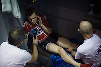 Winner of the 2 previous editions (while still being only 21yrs old) Jasper De Buyst (BEL/Lotto-Soudal) being interviewed by Sporza (while being massaged by his dad) in his track-side booth<br /> <br /> 2015 Gent 6