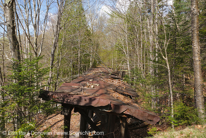 Built in the early 1900s, Trestle No. 16 crosses Black Brook along the old East Branch & Lincoln Railroad (1893-1948) in the Pemigewasset Wilderness of Lincoln, New Hampshire. This photo shows the top of the trestle in May 2009.