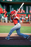 Keinner Pina (4) of the Orem Owlz bats against the Ogden Raptors in Pioneer League action at Lindquist Field on June 21, 2017 in Ogden, Utah. The Owlz defeated the Raptors 16-5. This was Opening Night at home for the Raptors.  (Stephen Smith/Four Seam Images)
