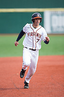 Adam Haseley (7) of the Virginia Cavaliers hustles towards third base against the Hartford Hawks at The Ripken Experience on February 27, 2015 in Myrtle Beach, South Carolina.  The Cavaliers defeated the Hawks 5-1.  (Brian Westerholt/Four Seam Images)