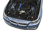 Car Stock 2015 BMW SERIES 5 ActiveHybrid 5 Luxury 4 Door Sedan Engine high angle detail view