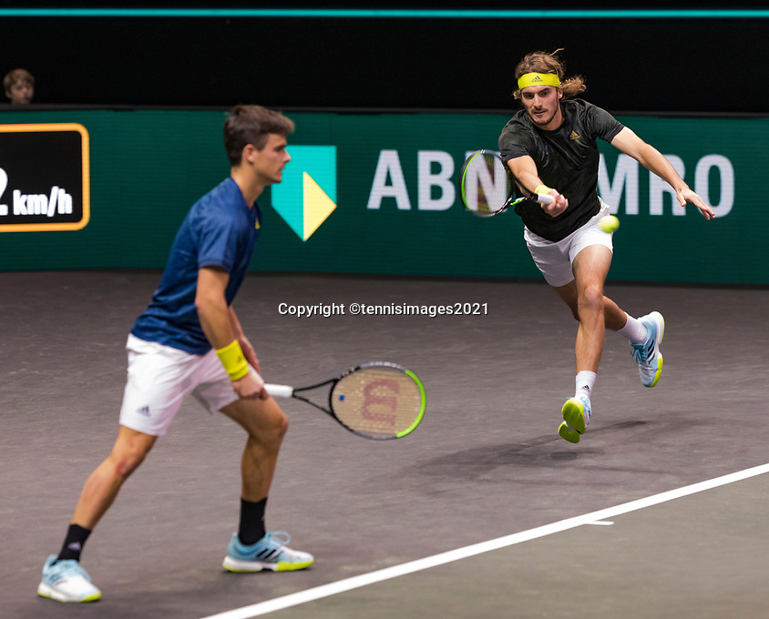 Rotterdam, The Netherlands, 5 march  2021, ABNAMRO World Tennis Tournament, Ahoy,  Quarter final: Petros Tsitsipas (GRE) / Stefanos Tsitsipas (GRE).<br /> Photo: www.tennisimages.com/henkkoster
